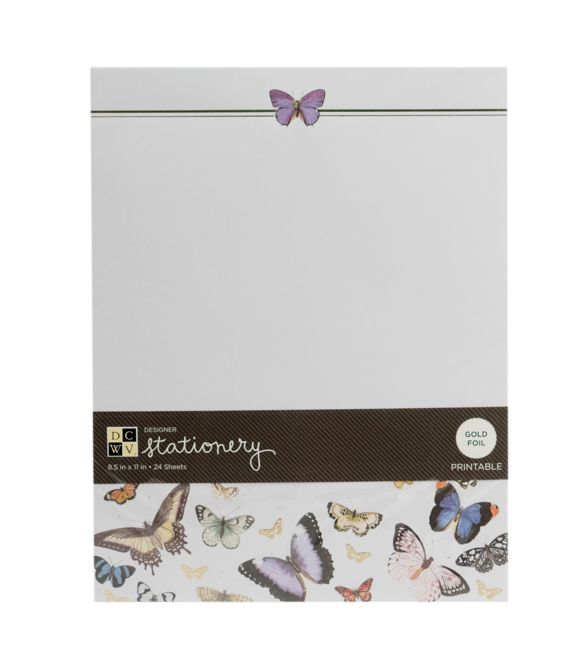 "DCWV 8-1/2""x11"" Designer Printable Stationery: Butterflies"