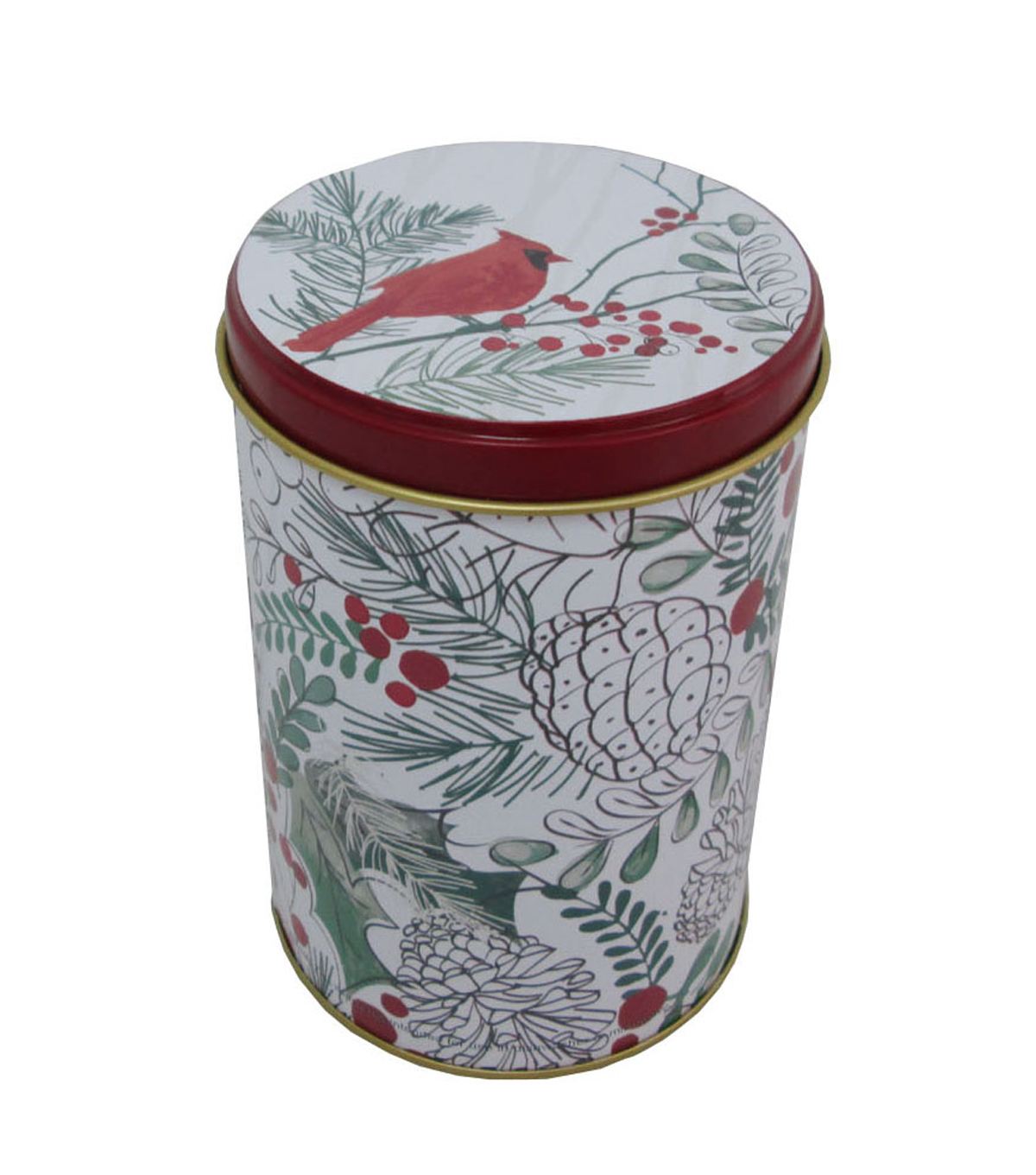 Maker\u0027s Holiday Christmas Medium Round Solid Top Canister-Cardinal