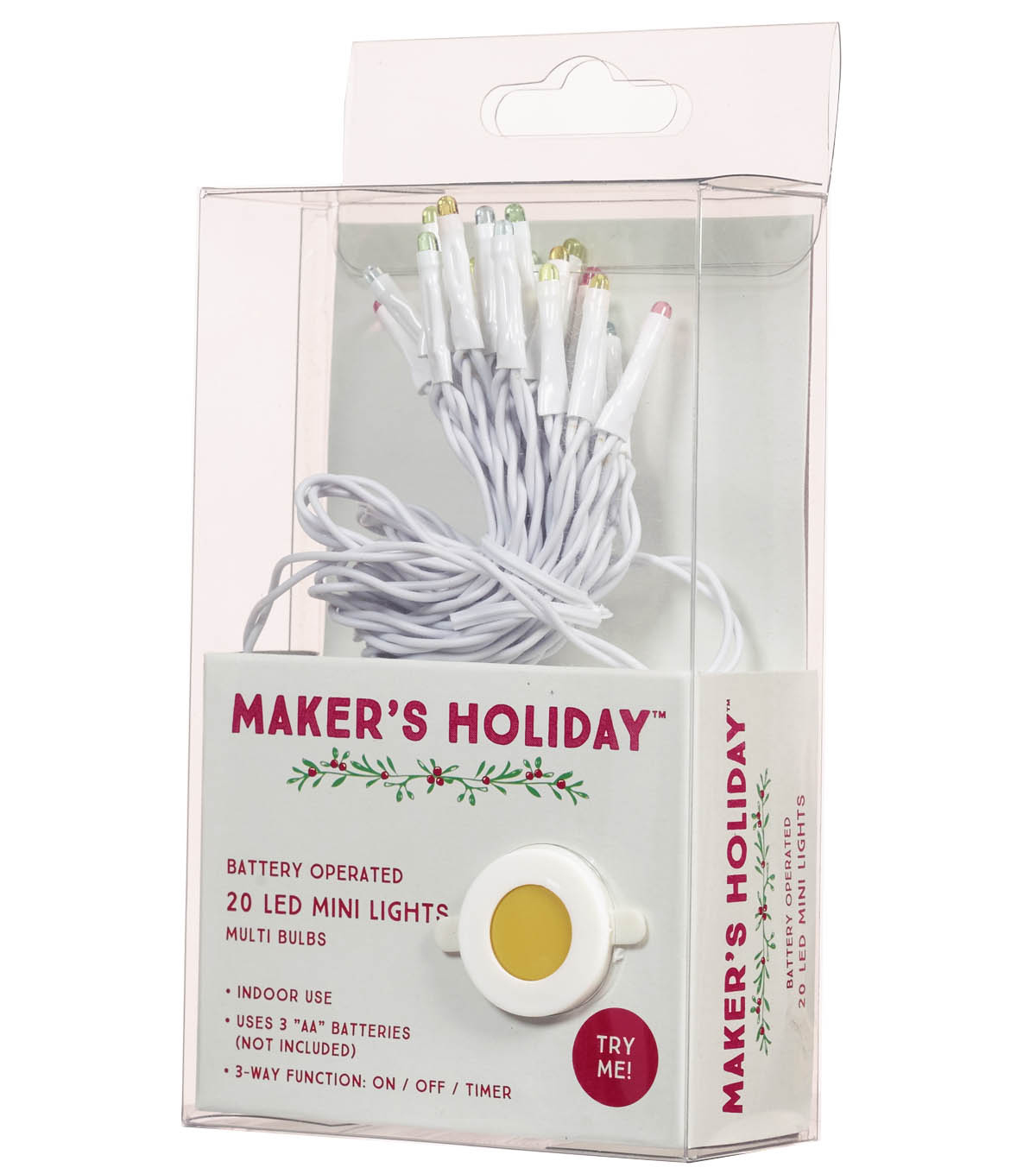 Maker's Holiday 20ct LED Mini Lights-Multicolored Bulbs