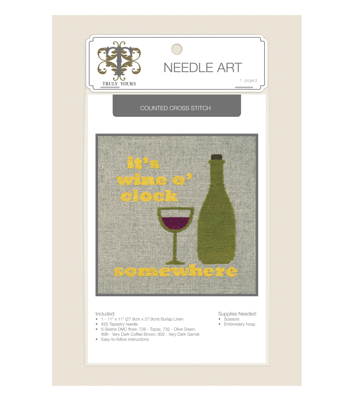 Truly Yours™ Needle Art Counted Cross Stitch Kit- Wine
