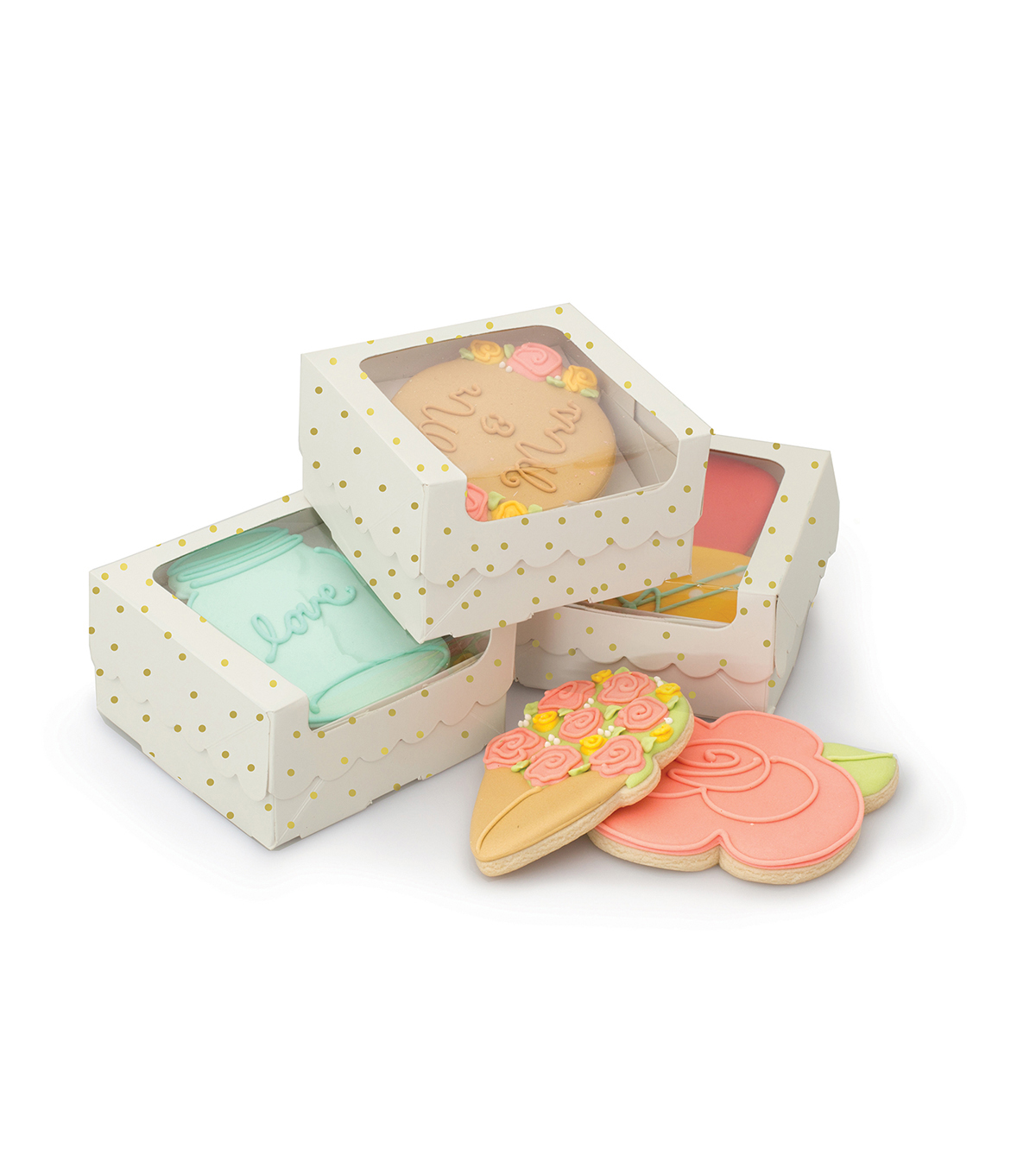 Sweet Sugarbelle 1 Cookie Box White and Gold Dot