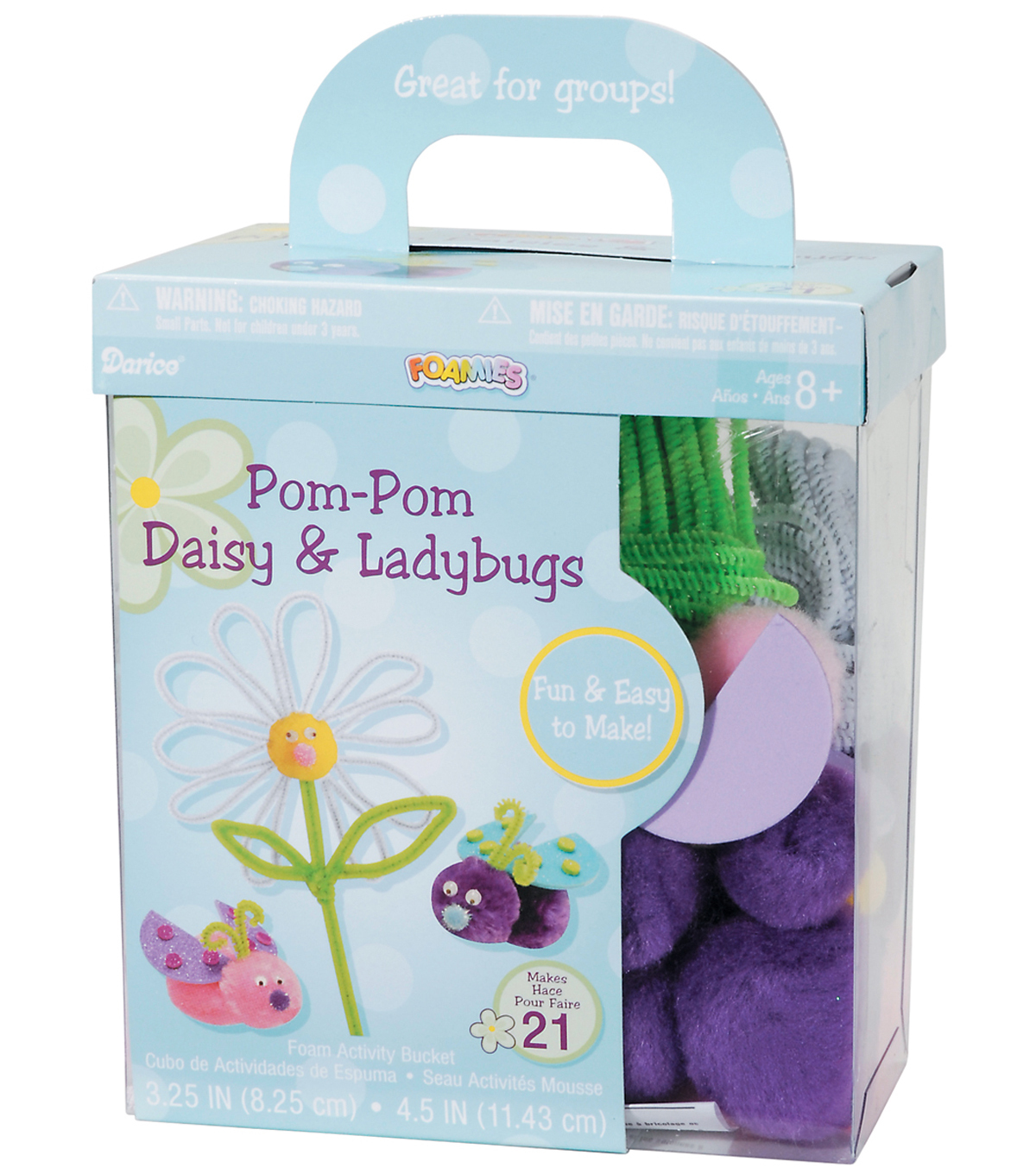 Darice Foam Kit-Makes 21-Pom-Pom Daisy & Ladybugs