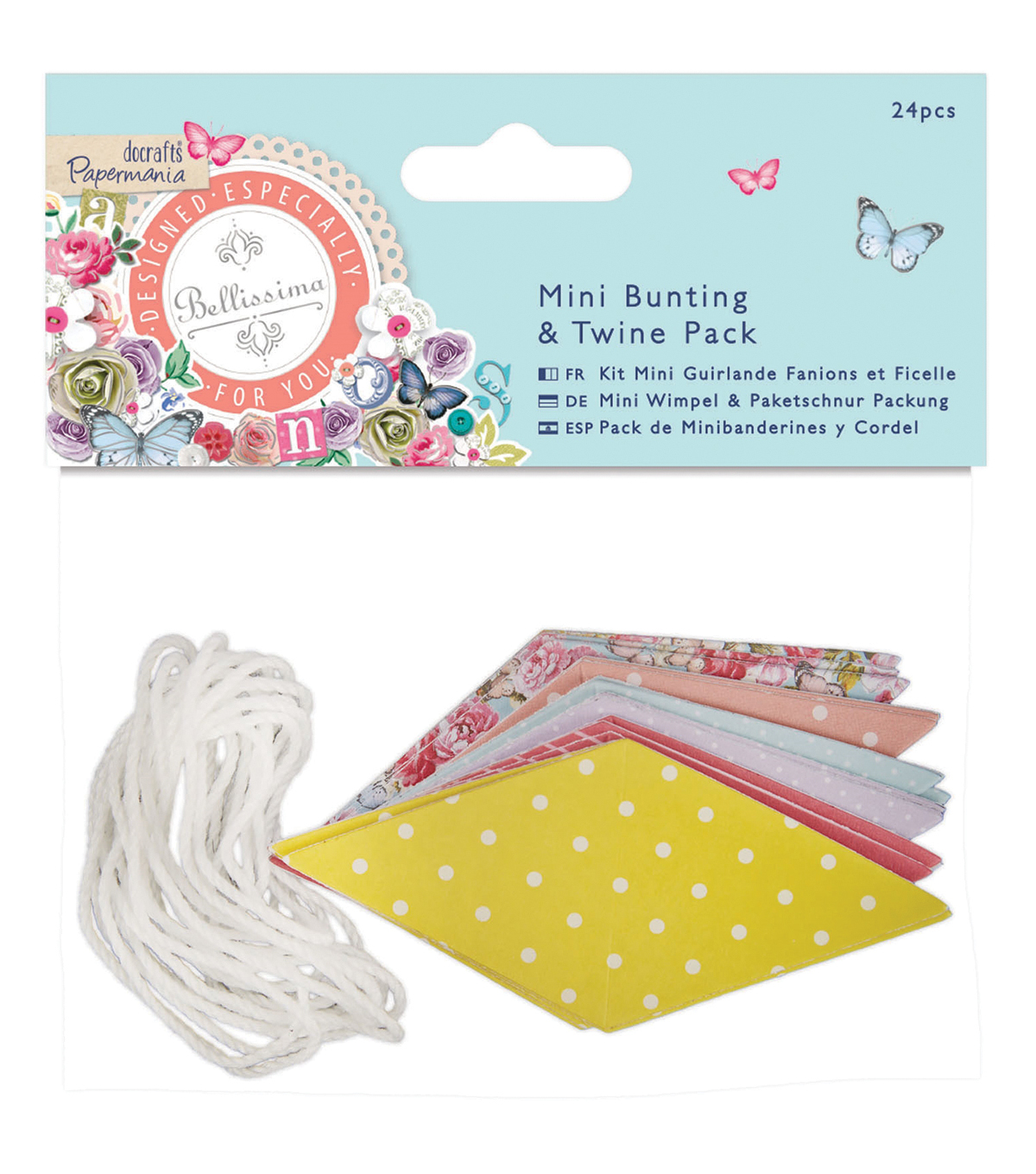 Papermania Bellissima Mini Bunting & Twine Pack