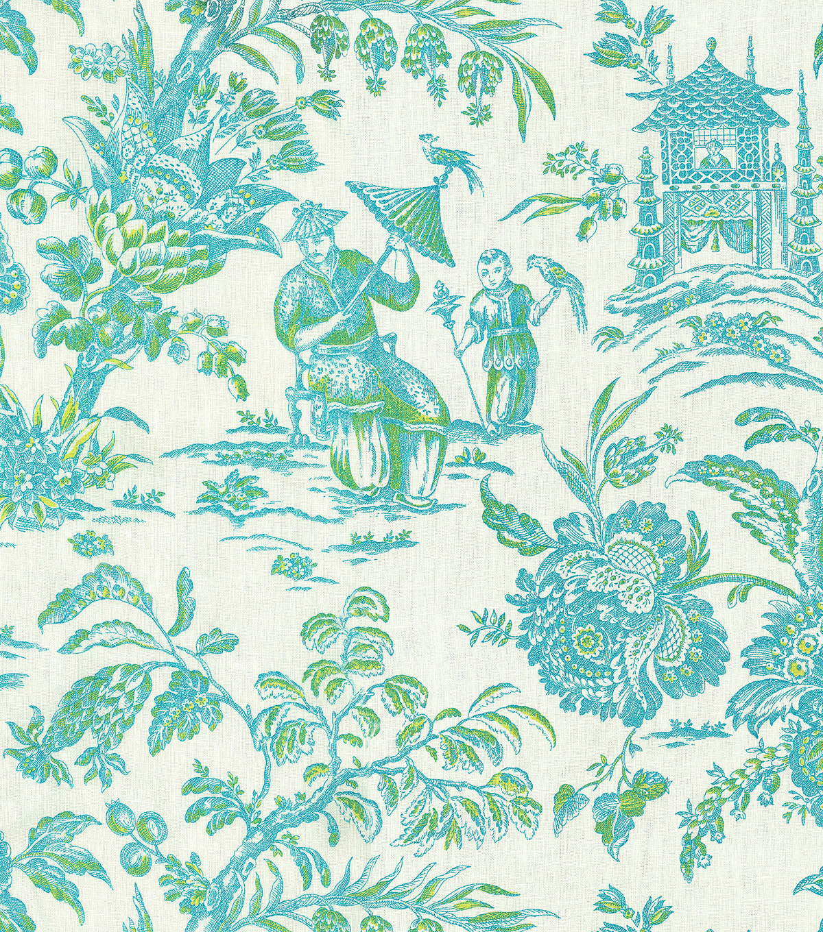 "P/K Lifestyles Print Fabric 54""-Asian Arcadia/Lagoon"