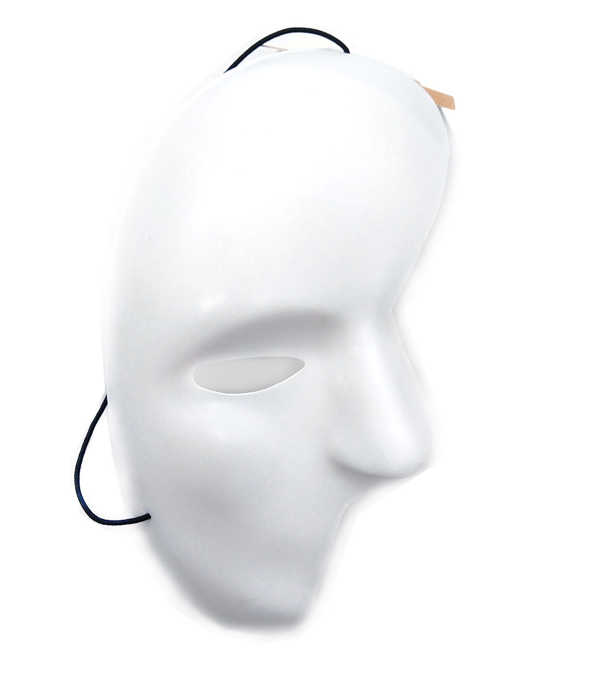Mask-It™ Half Face 4.5\u0022x8.25\u0022 (11.4 x 21 cm) White with black elastic cord, FREE Color Instruction Sheet, 1 piece