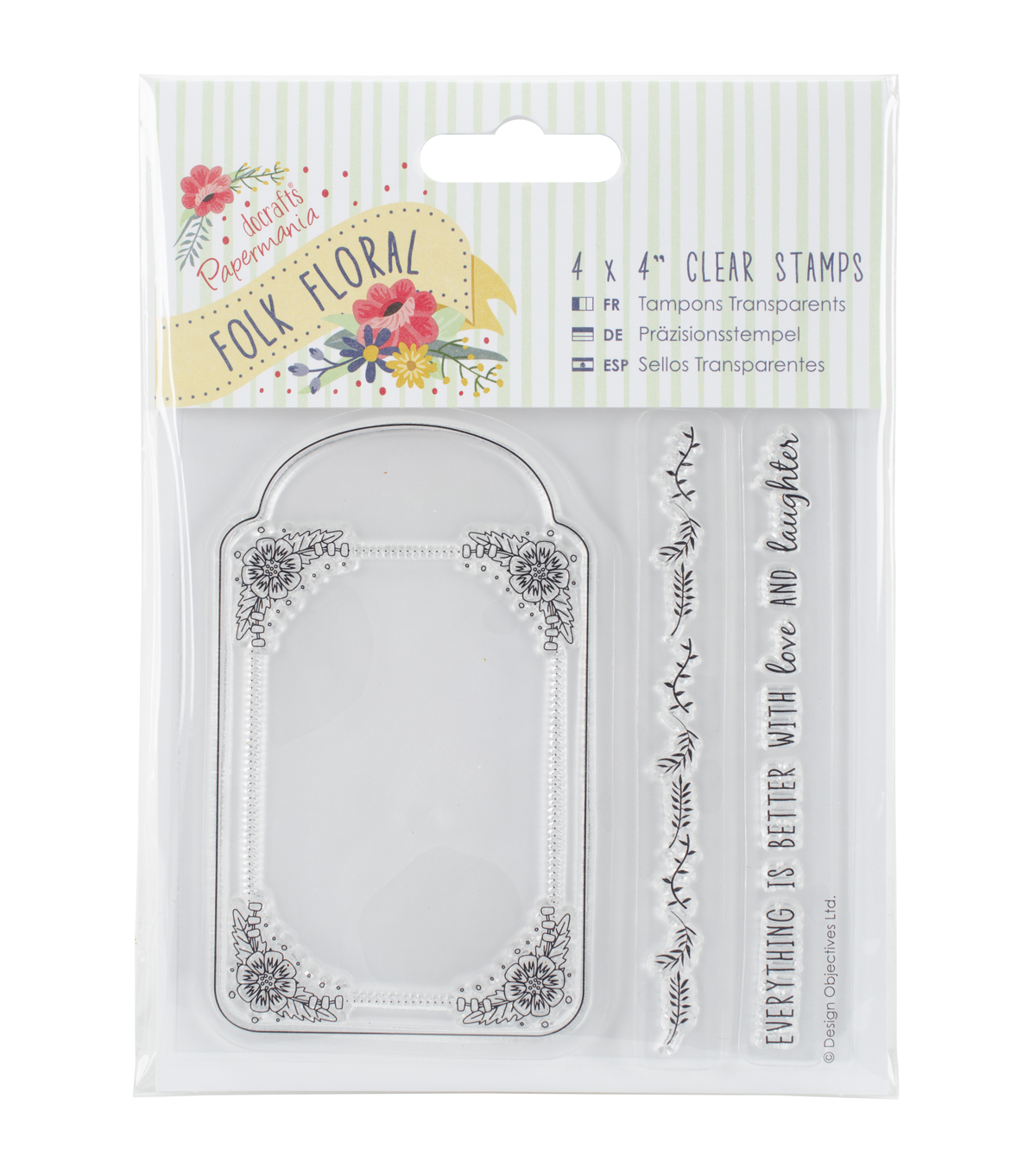 Papermania Folk Floral 4''x4'' Clear Stamps-Tag