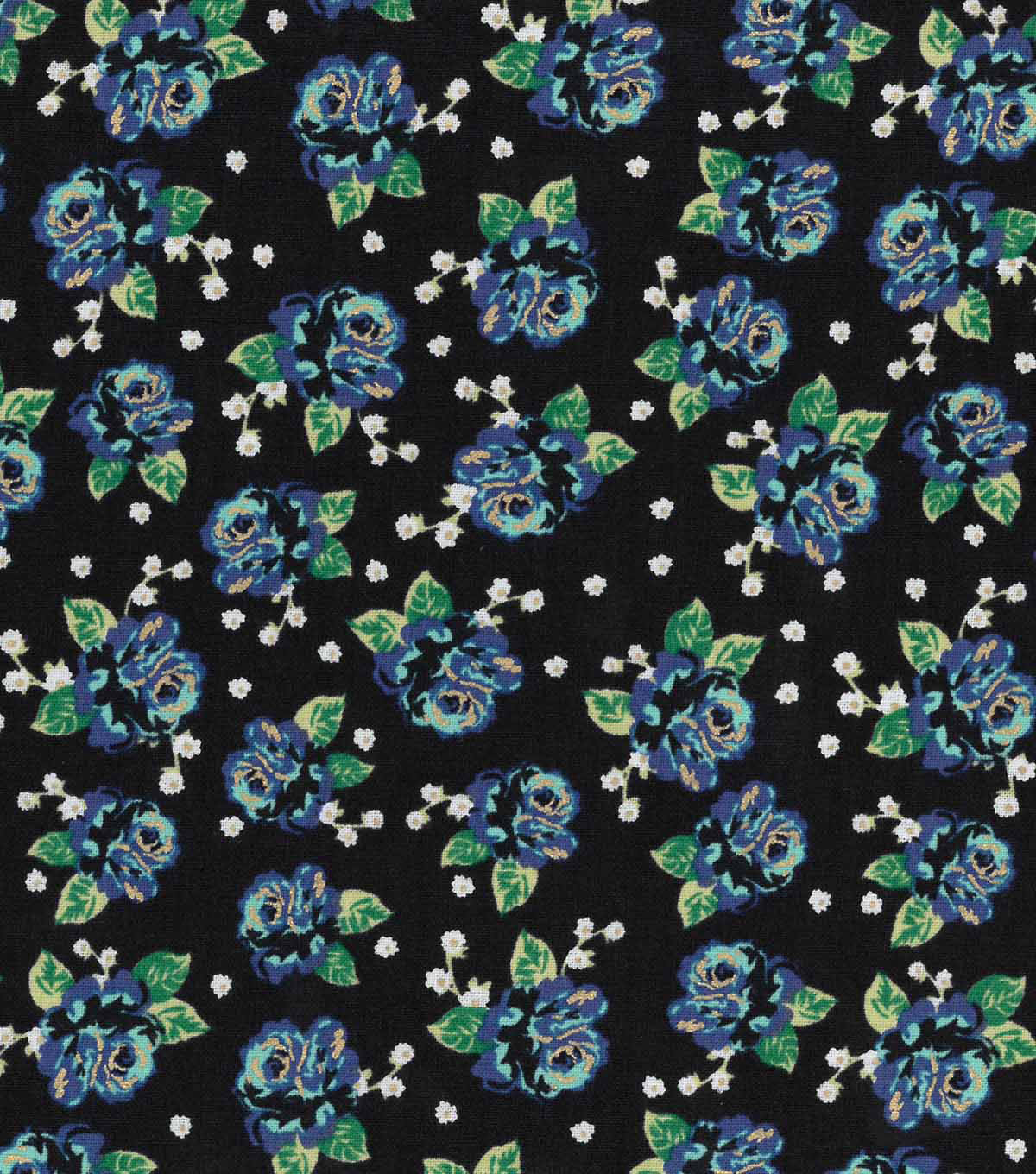 "Buttercream™ Stella Cotton Fabric 43""-Ditsy Rose Blue"