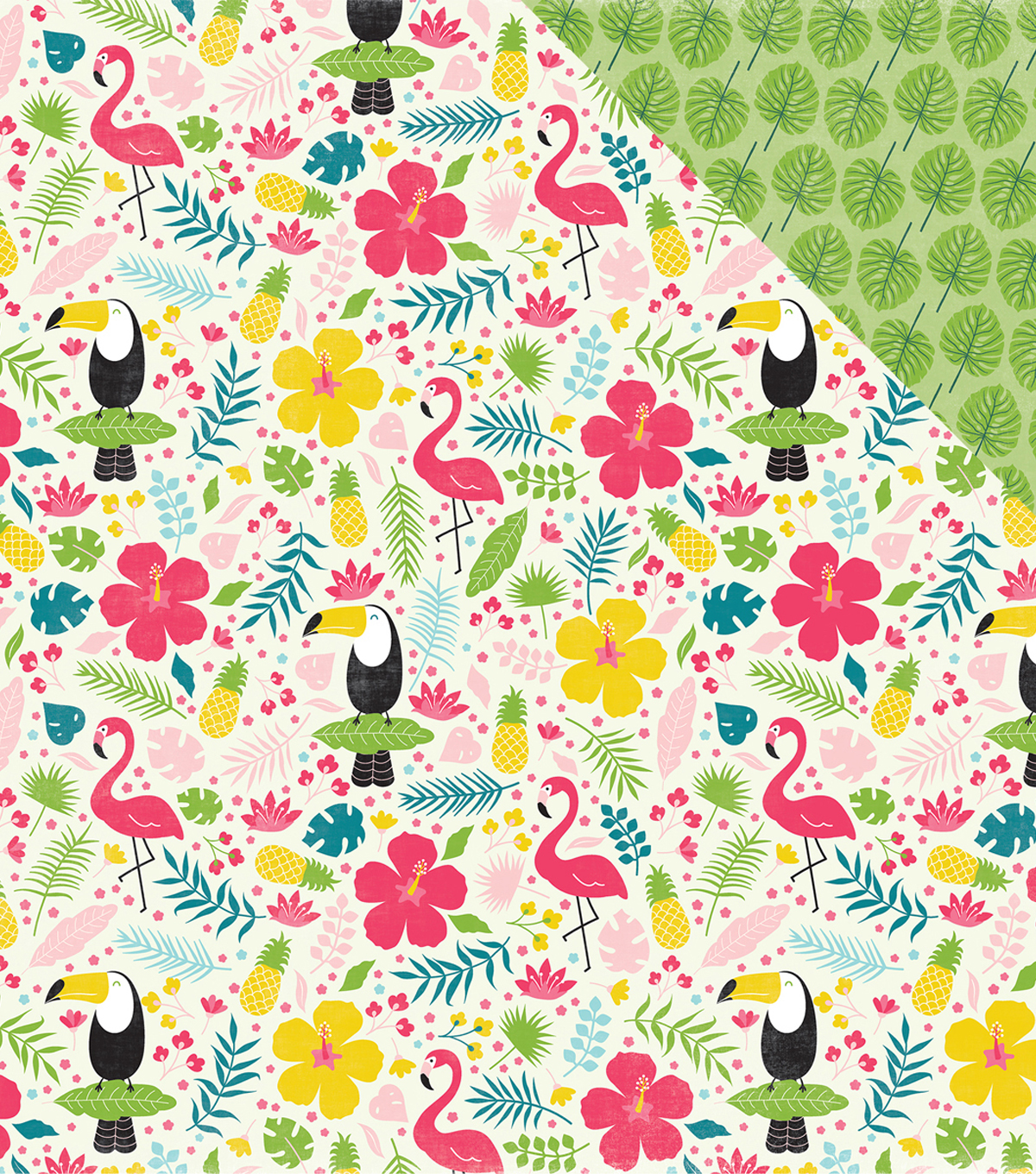 Summer Fun Double-Sided Cardstock 12\u0022X12\u0022-Tropical Floral