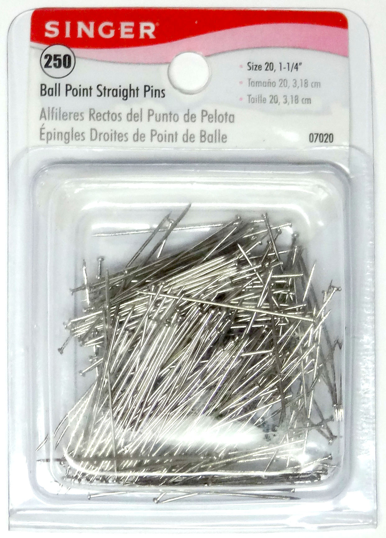 Singer Ball Point Straight Pins-Size 20 250/Pkg