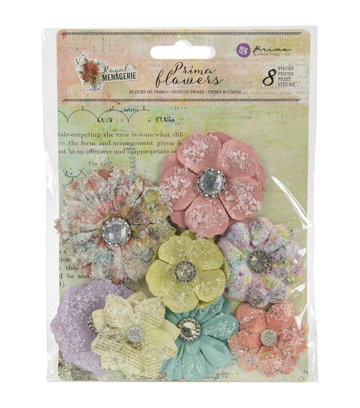 Prima Marketing Royal Menagerie 8ct Mulberry Paper Flowers-Victoria