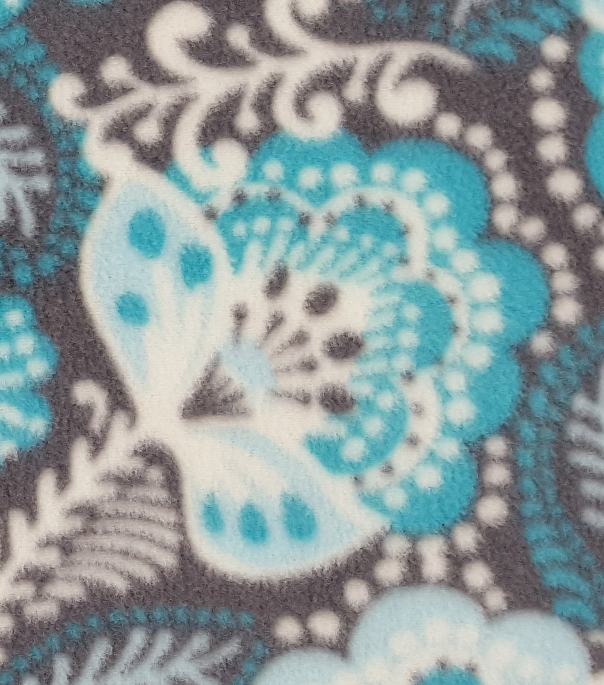"Anti-Pill Fleece Fabric 59""-Teal Gray Floral"