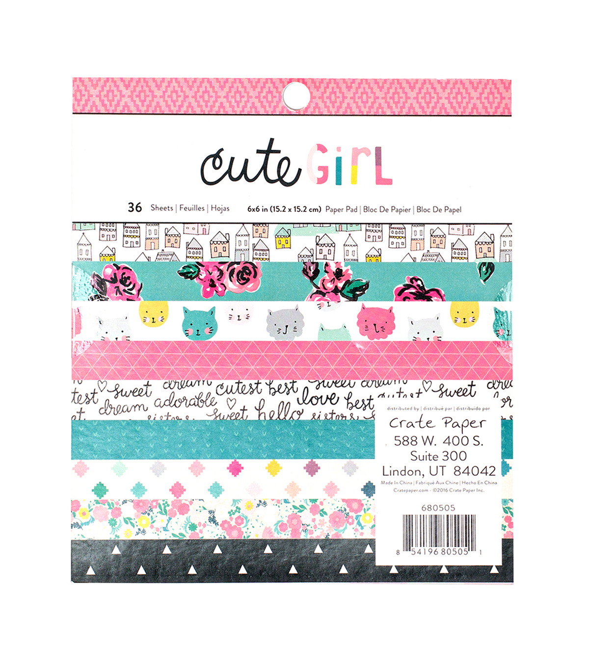 Crate Paper Cute Girl Pack of 36 6\u0027\u0027x6\u0027\u0027 Paper Pad