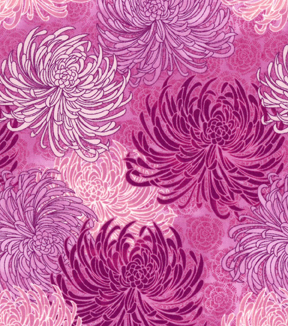Asian Inspired Cotton Fabric 43\u0027\u0027-Tonal Pink Floral