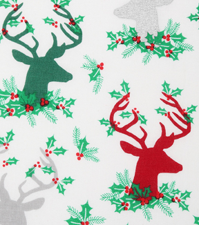 Christmas Cotton Fabric 43\u0022-Stag Head Hollies
