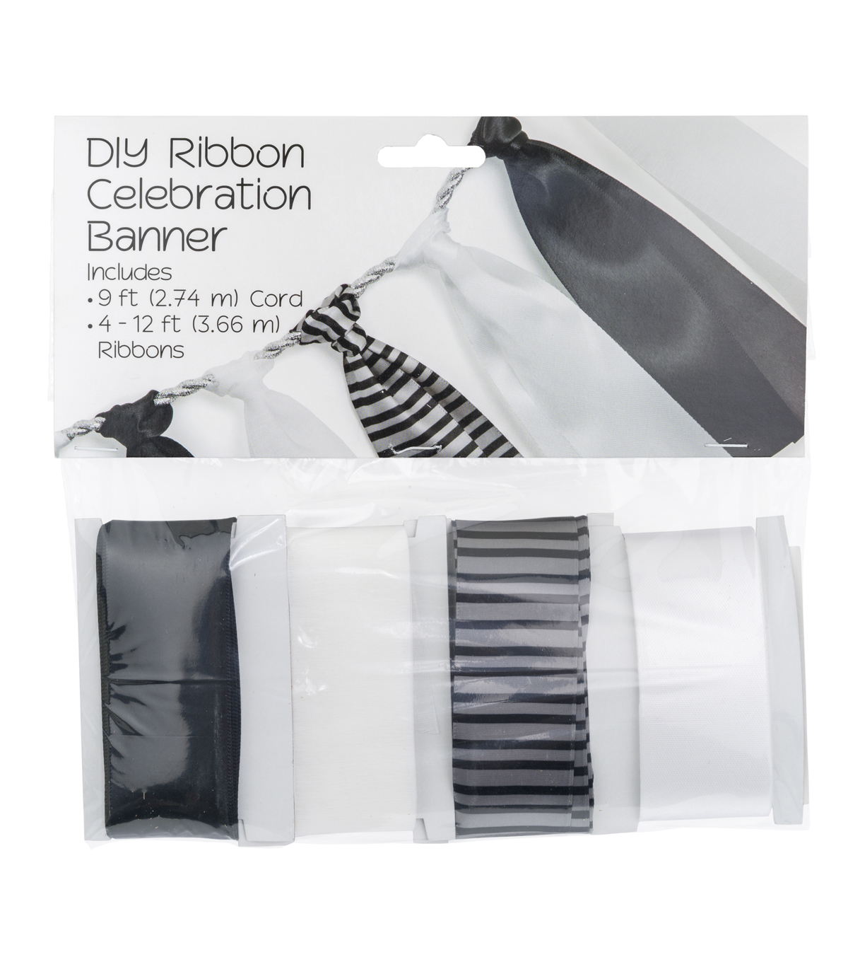 Offray® DIY Ribbon Celebration Banner Kit-Silver Wedding