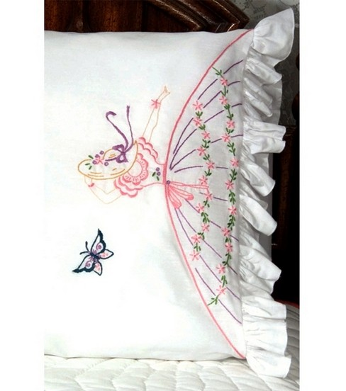 Lace Edge Colonial Lady Stamped Pillowcase-Butterfly Lady