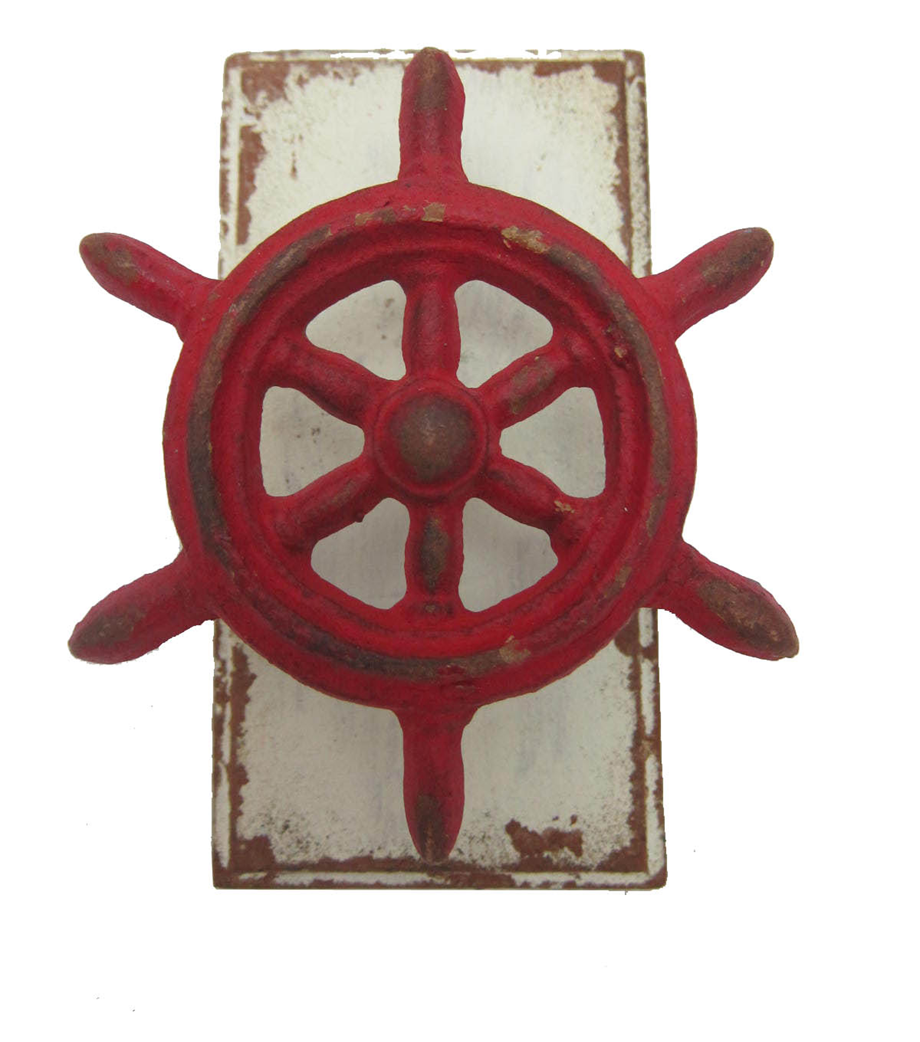 Sea to Sea Cast Iron Ships Wheel Hook-Red