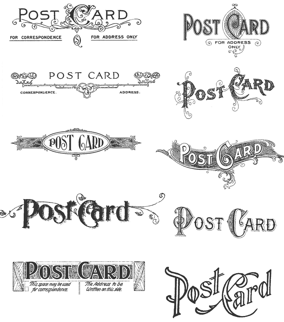 Tim Holtz Cling Rubber Stamp Set-Postcards