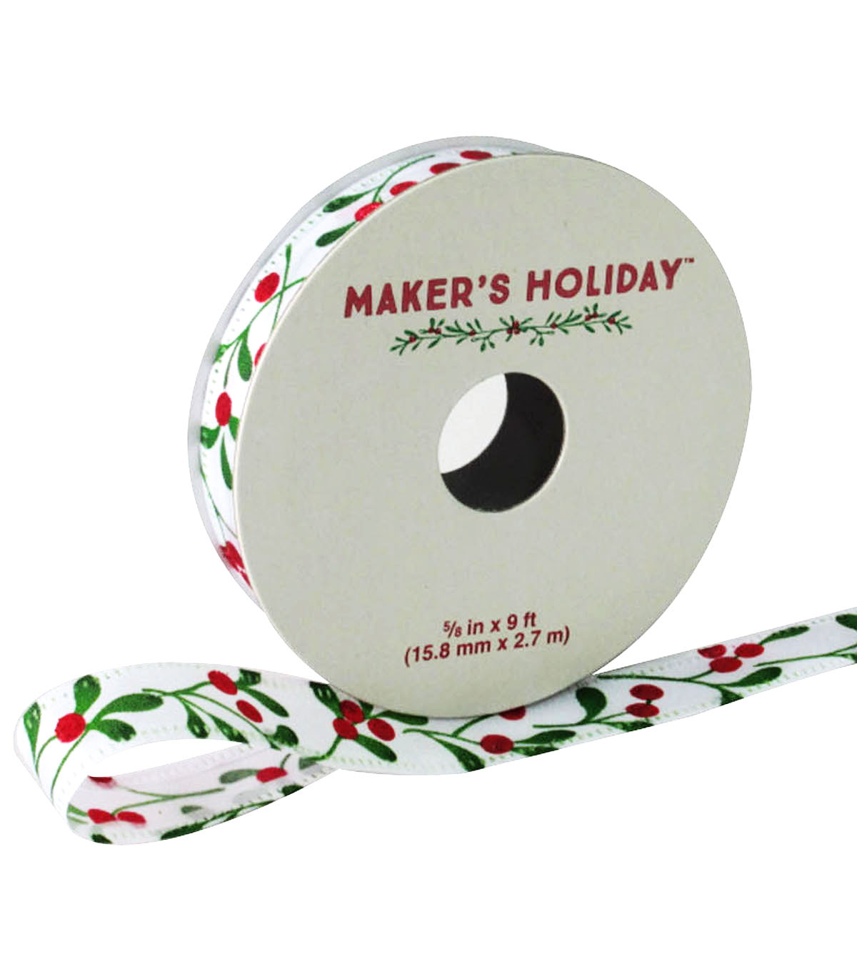 Maker's Holiday Satin Ribbon 5/8''x9'-Berries On White