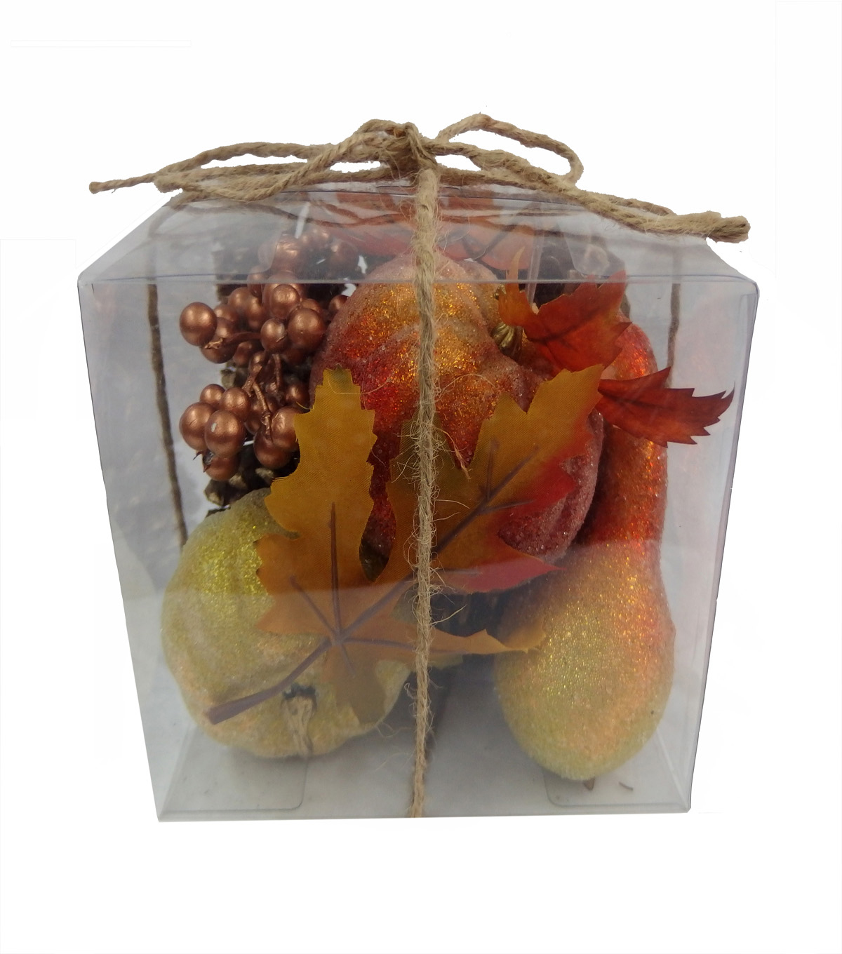 Blooming Autumn Sugar Coating Pumpkin, Pinecone, Berries  & Gourd In Box