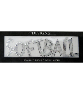 Mark Richards Designs 2\u0027\u0027x7\u0027\u0027 Rhinestone Iron On-Softball