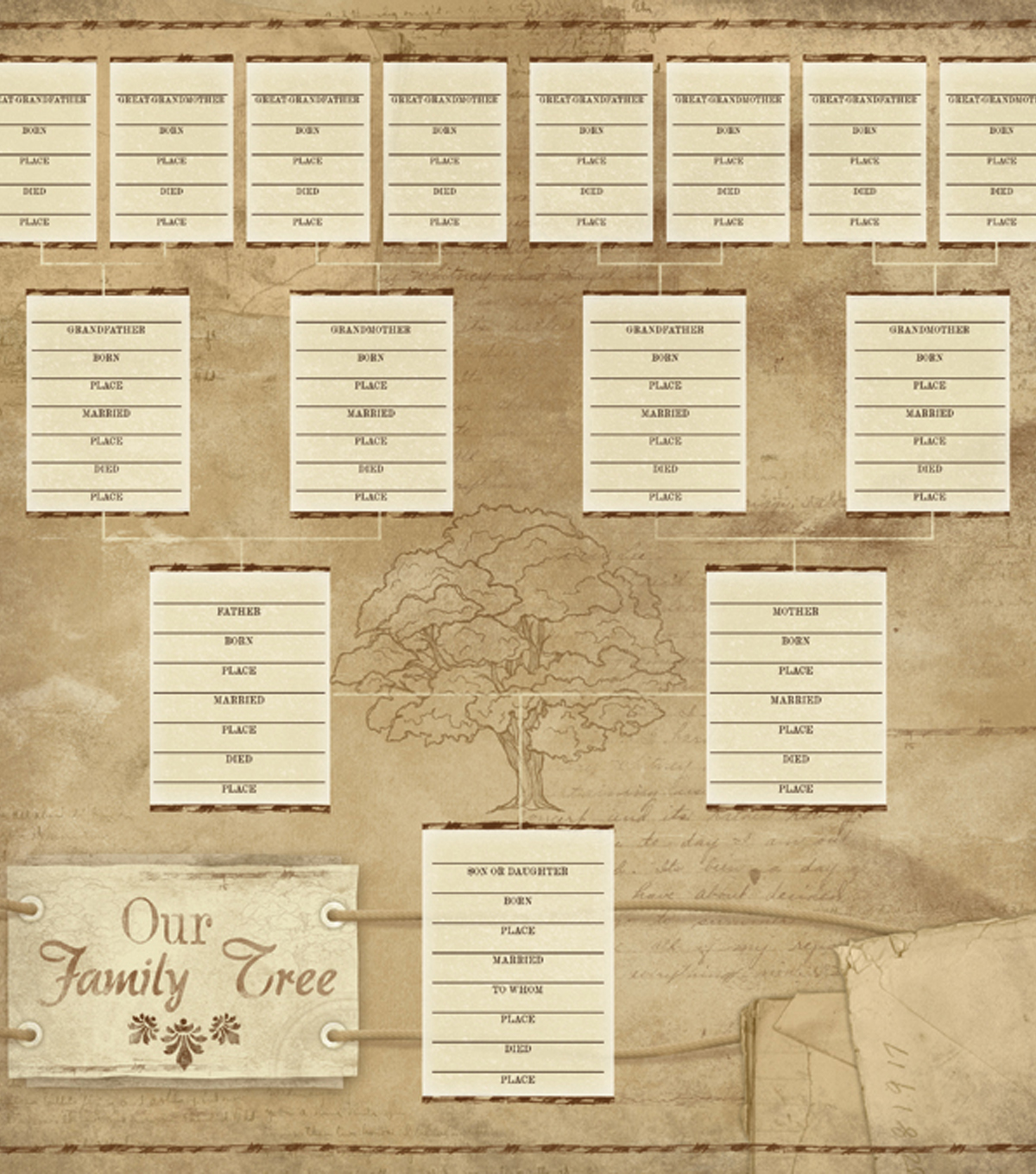 Karen Foster 12\u0022X12\u0022 Ancestry Collection Paper-Our Family Tree Chart