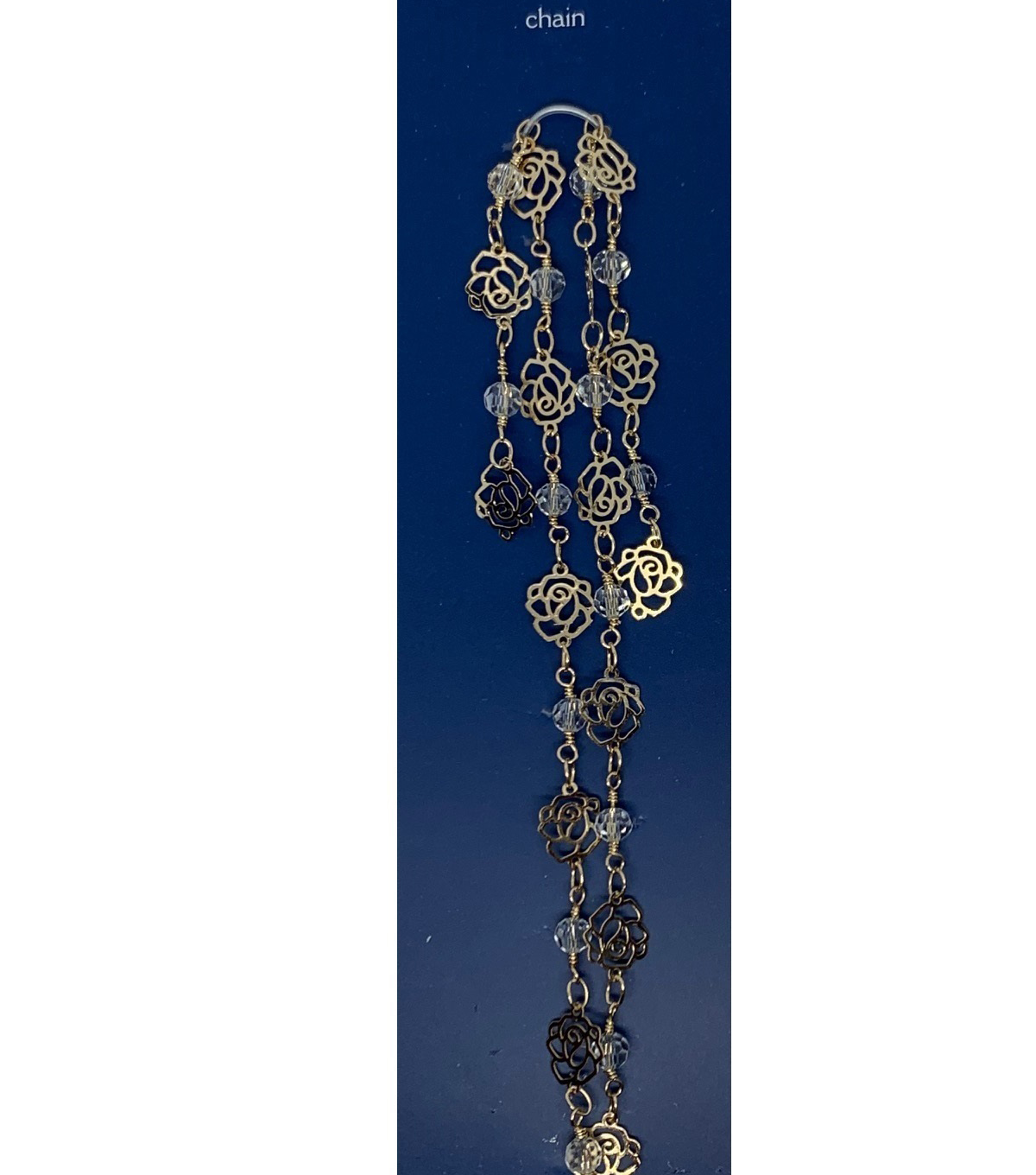 Blue Moon Beads Chain, Connector Link, Cutout Roses, Light Gold