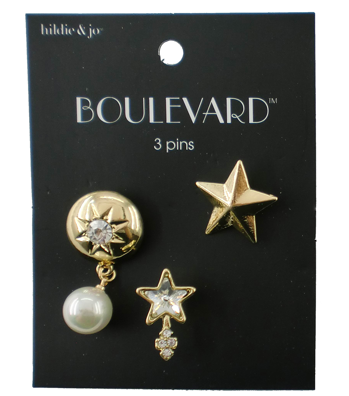 hildie & jo™ Boulevard 3 Pack Star Gold Pins