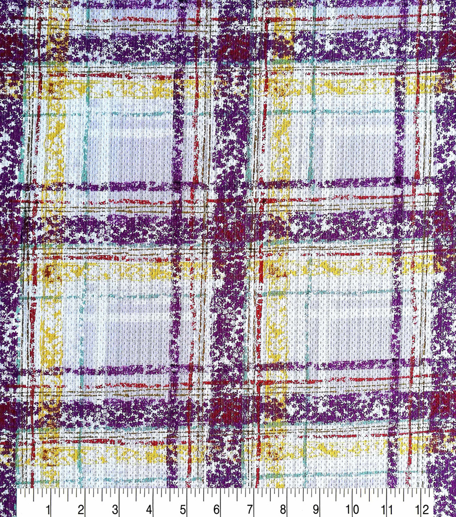 Spring Sheen Lurex Woven Fabric 57\u0022-Purple Plaid