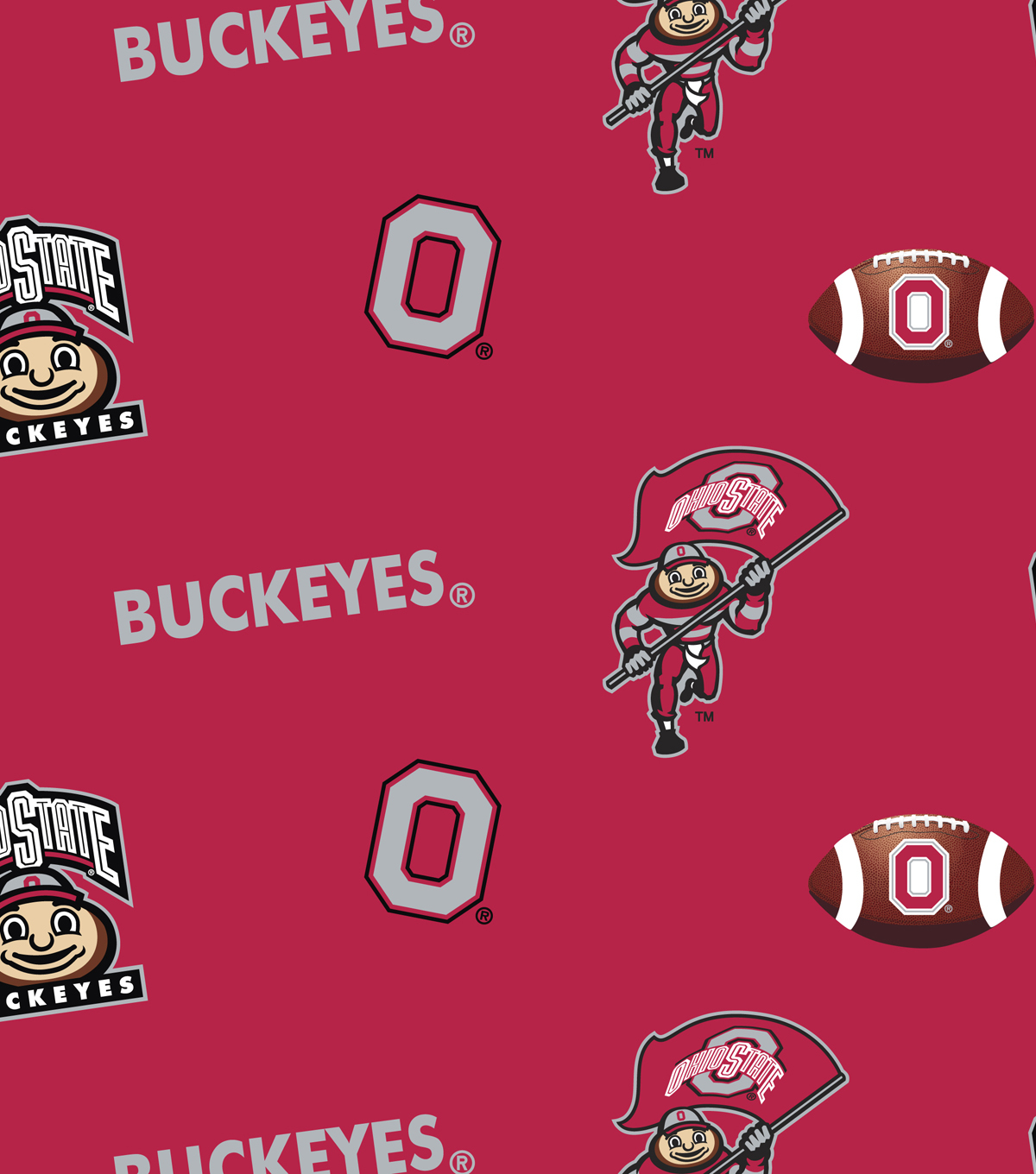 Ohio State University Buckeyes Cotton Fabric 43\u0022-Red All Over