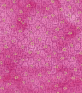 Asian Inspired Cotton Fabric 43\u0022-Floral Scallops Pink Metallic