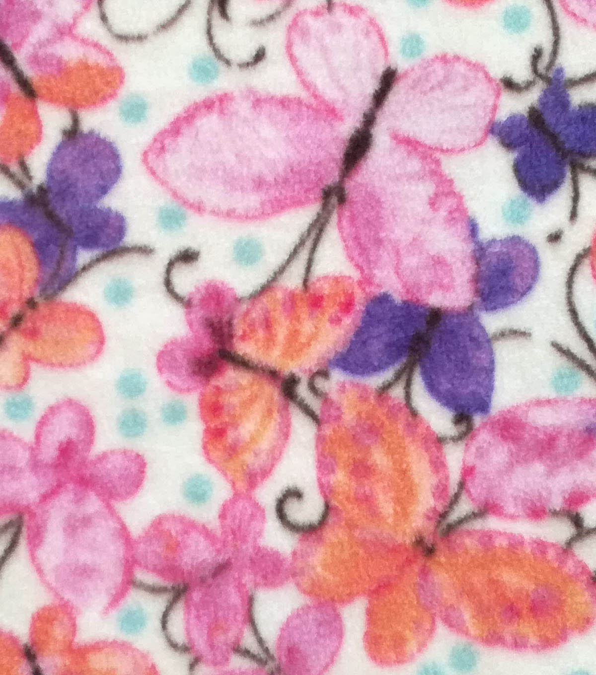 Anti-Pill Fleece Fabric 59\u0022-Pink Orange Watercolor Butterflies