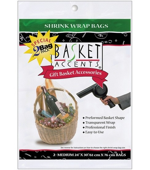 "Basket Accents Shrink Wrap Bags Medium 24""X30"" 2/Pkg-Clear"