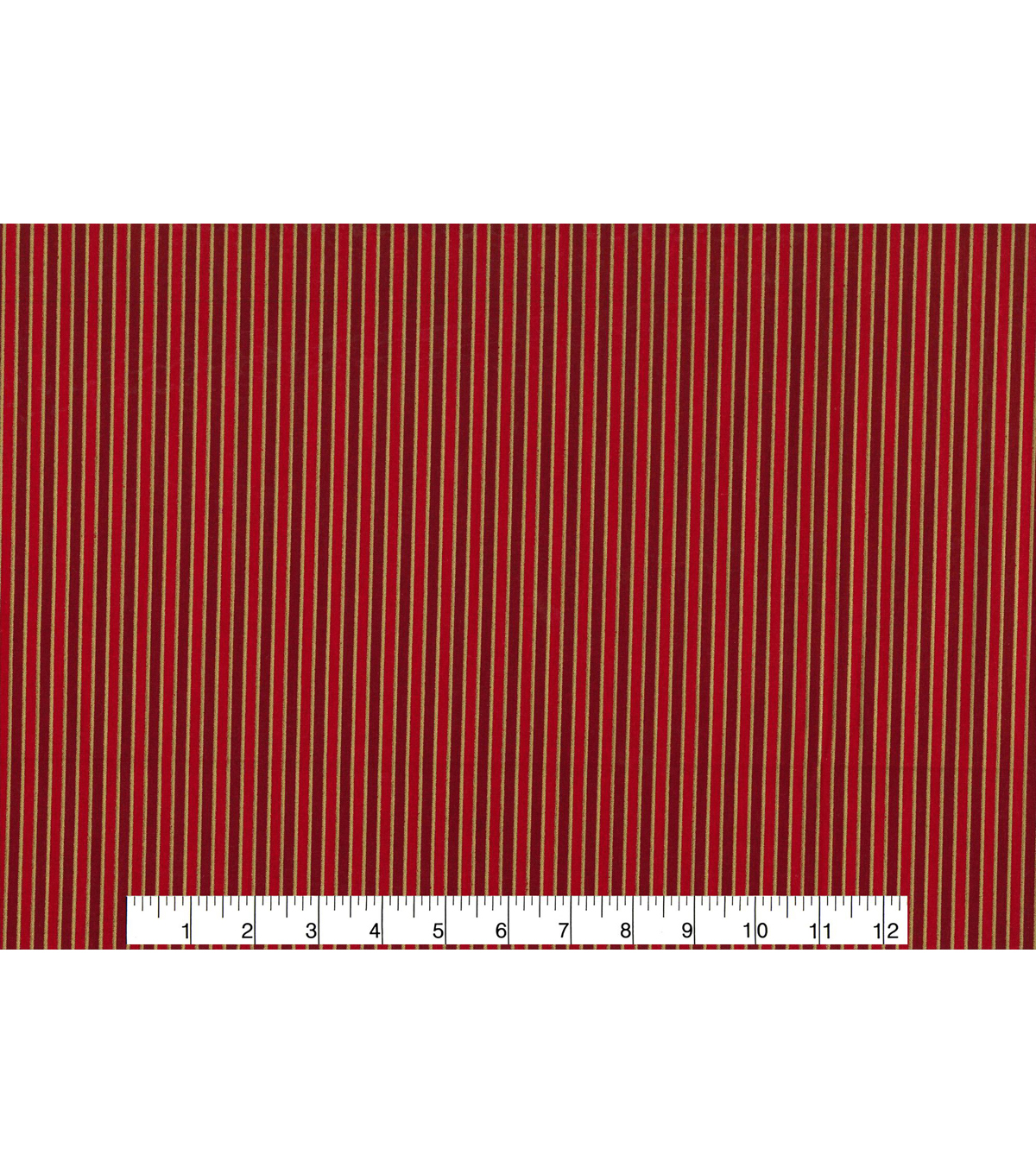 Keepsake Calico™ Holiday Cotton Fabric 43\u0022-Metallic Gold Stripe on Red