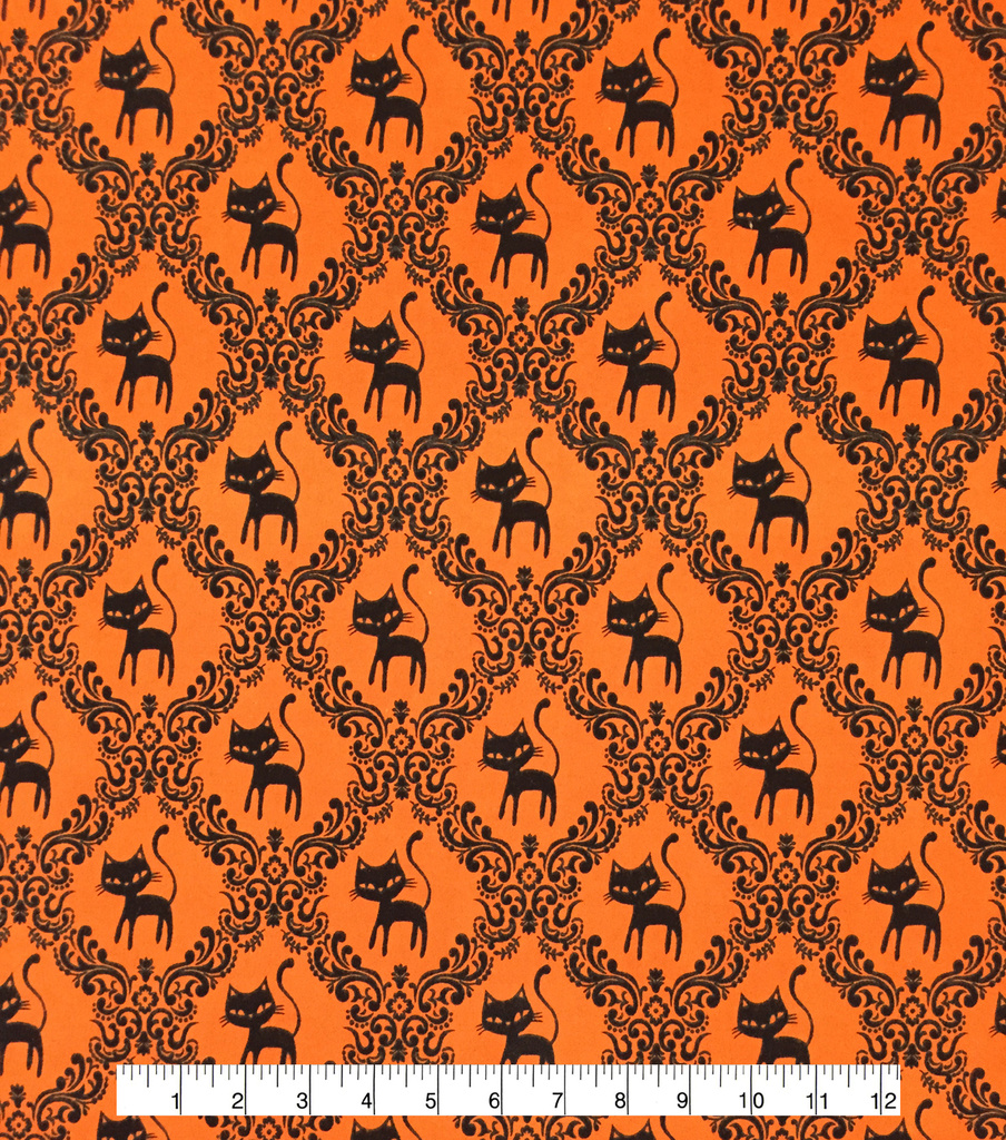 Doodles Halloween Interlock Cotton Fabric 57\u0022-Black Cat Scroll