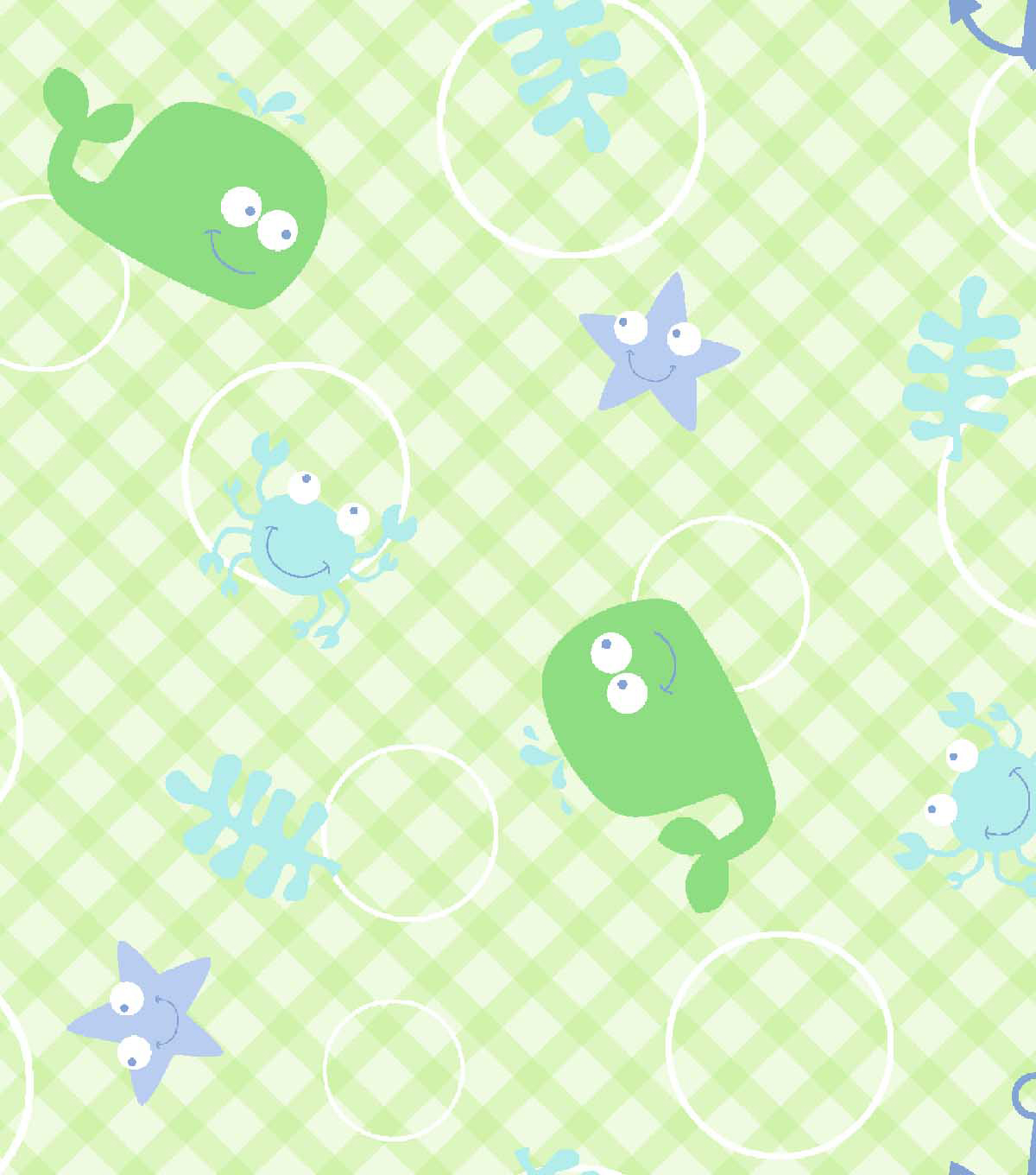 Snuggle Flannel Fabric 42\u0027\u0027-Whale & Hook