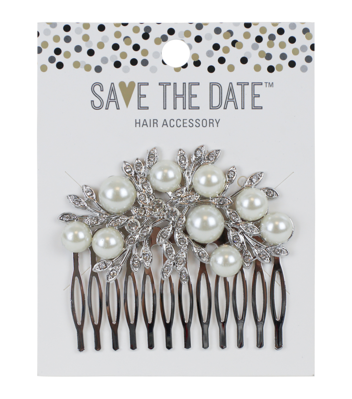 Save The Date 2.75''x2.5'' Pearl Beaded Comb-Silver