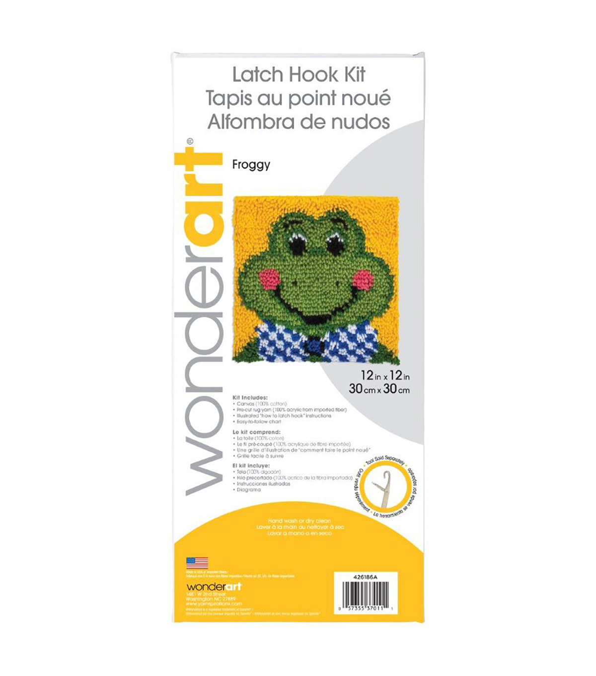 Wonderart Latch Hook Kit 12\u0022X12\u0022-Froggy