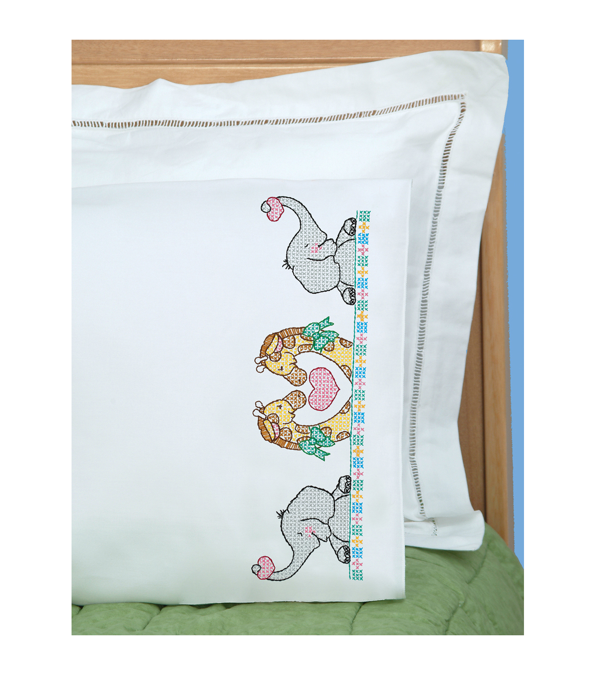 Jack Dempsey Children\u0027s Stamped Pillowcase With Perle Edge Noah\u0027s Ark