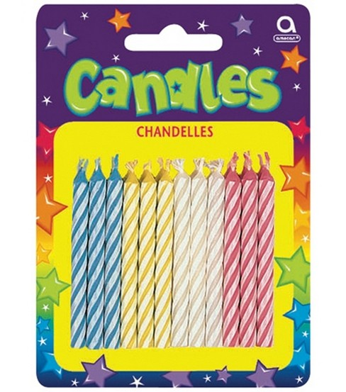 "Candy Stripe 2-1/2"" Birthday Candles-72PK"
