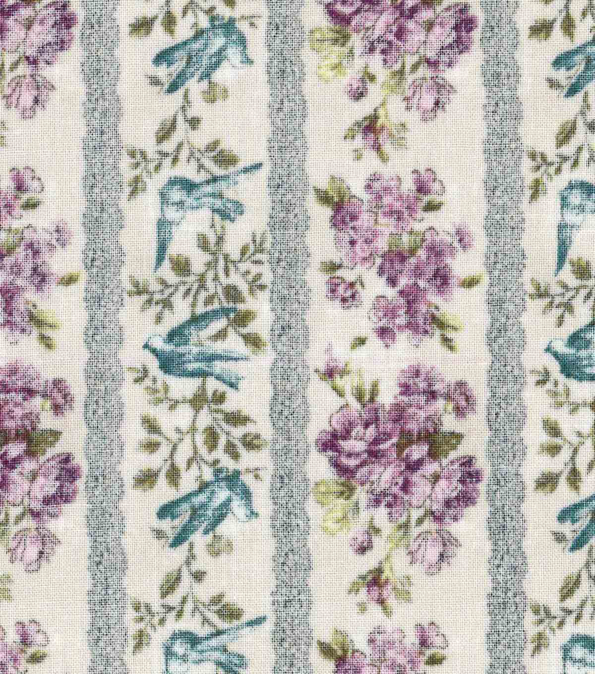 "Vintage Cotton Fabric 43""-Purple Floral Stripe"