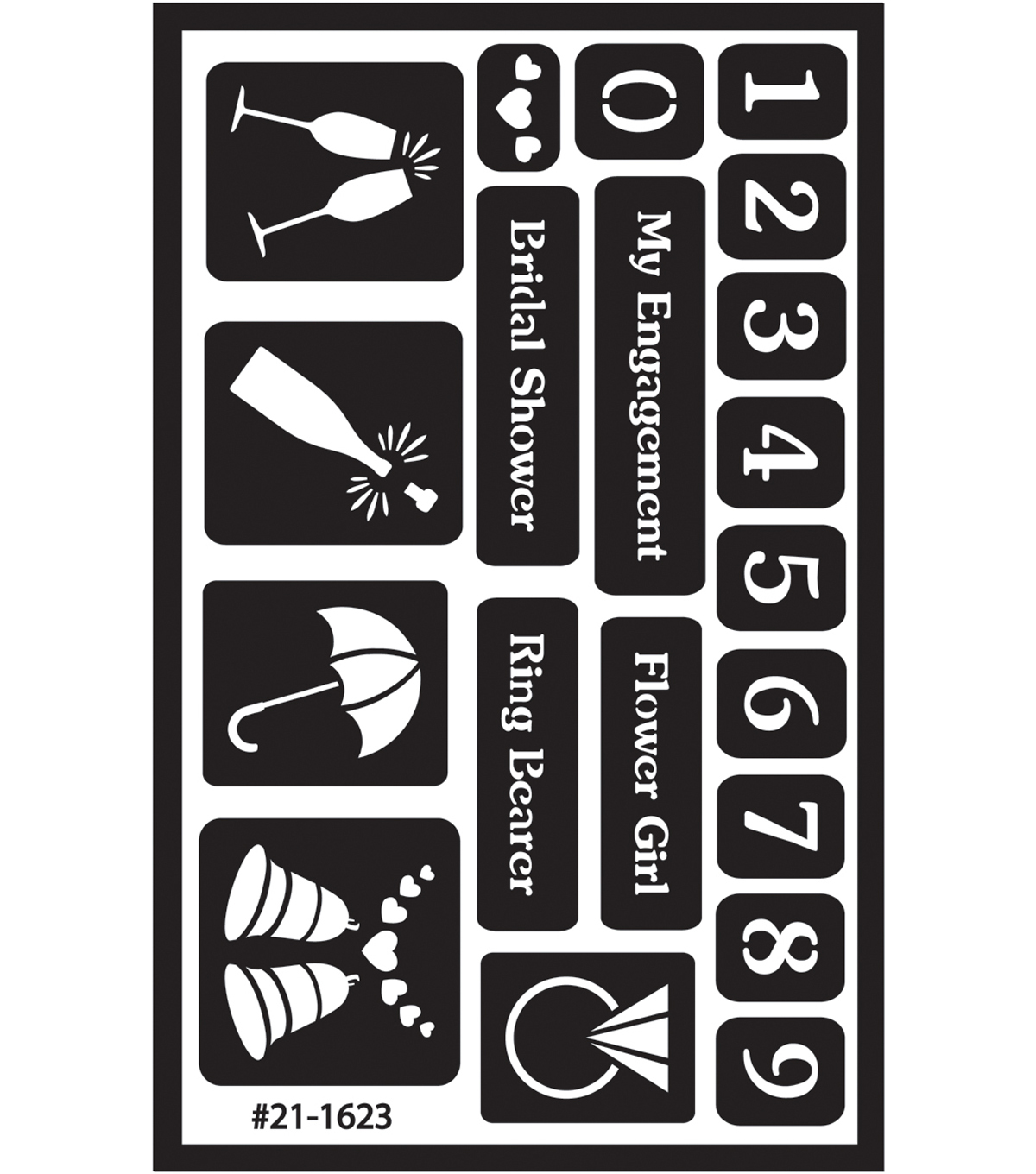 Over \u0027n\u0027 Over Reusable Glass Etching Stencils-Numbers