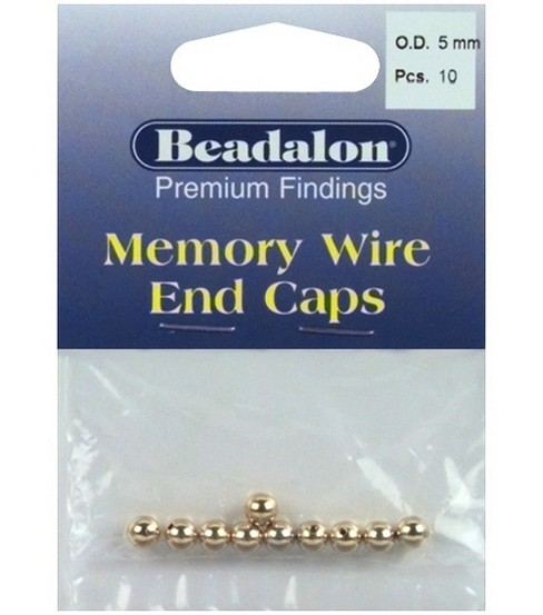 Beadalon 5mm Memory Wire End Caps-10PK/Gold