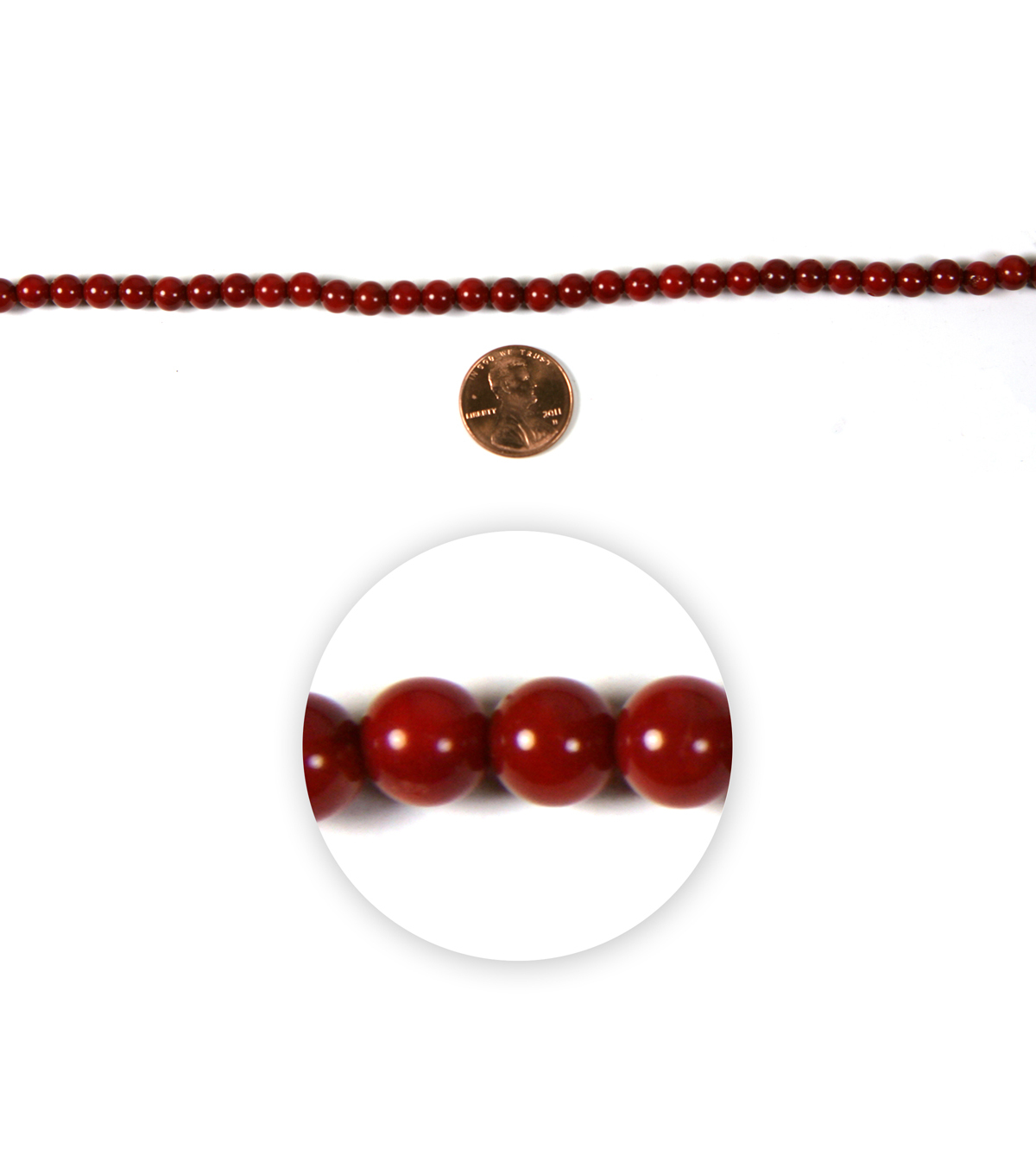 Blue Moon Strung Faux Coral Beads,Round,Red