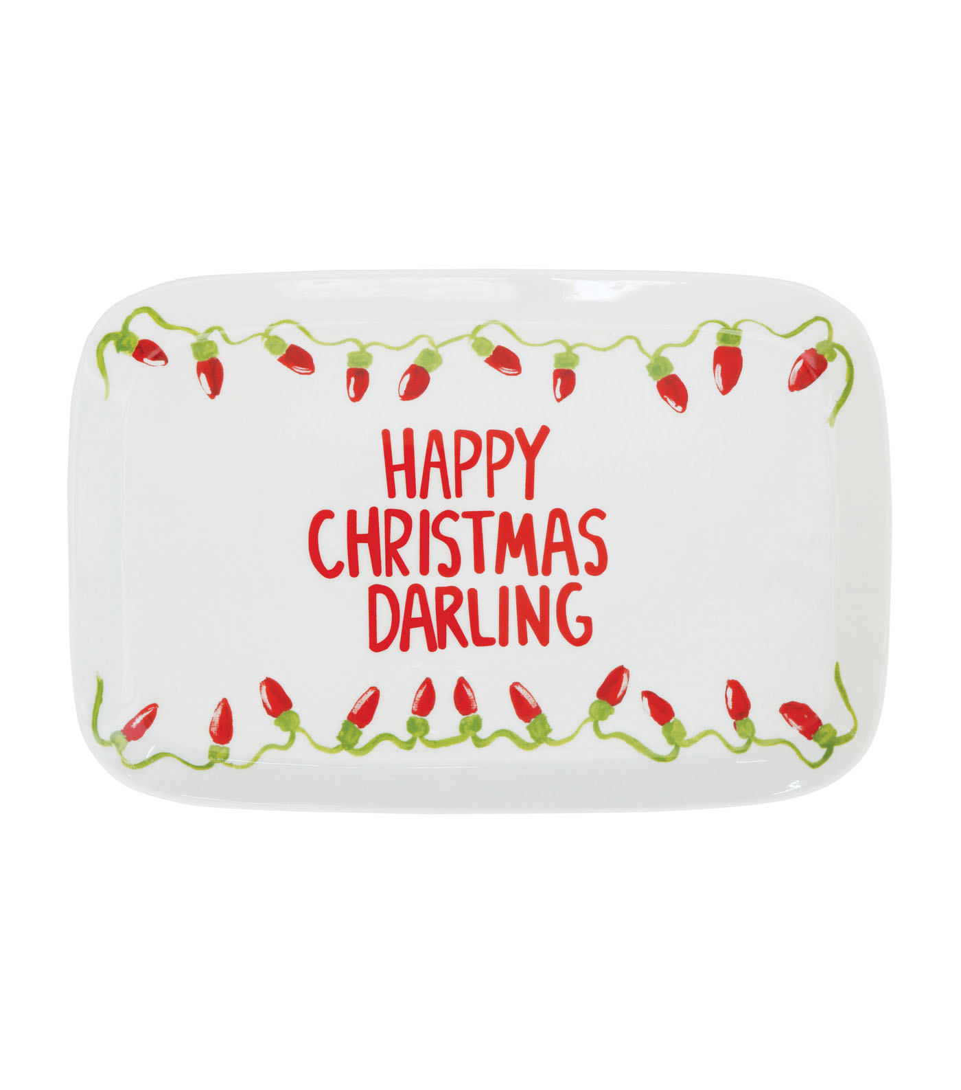 3R Studios Christmas Stoneware Serving Plate-Happy Christmas Darling