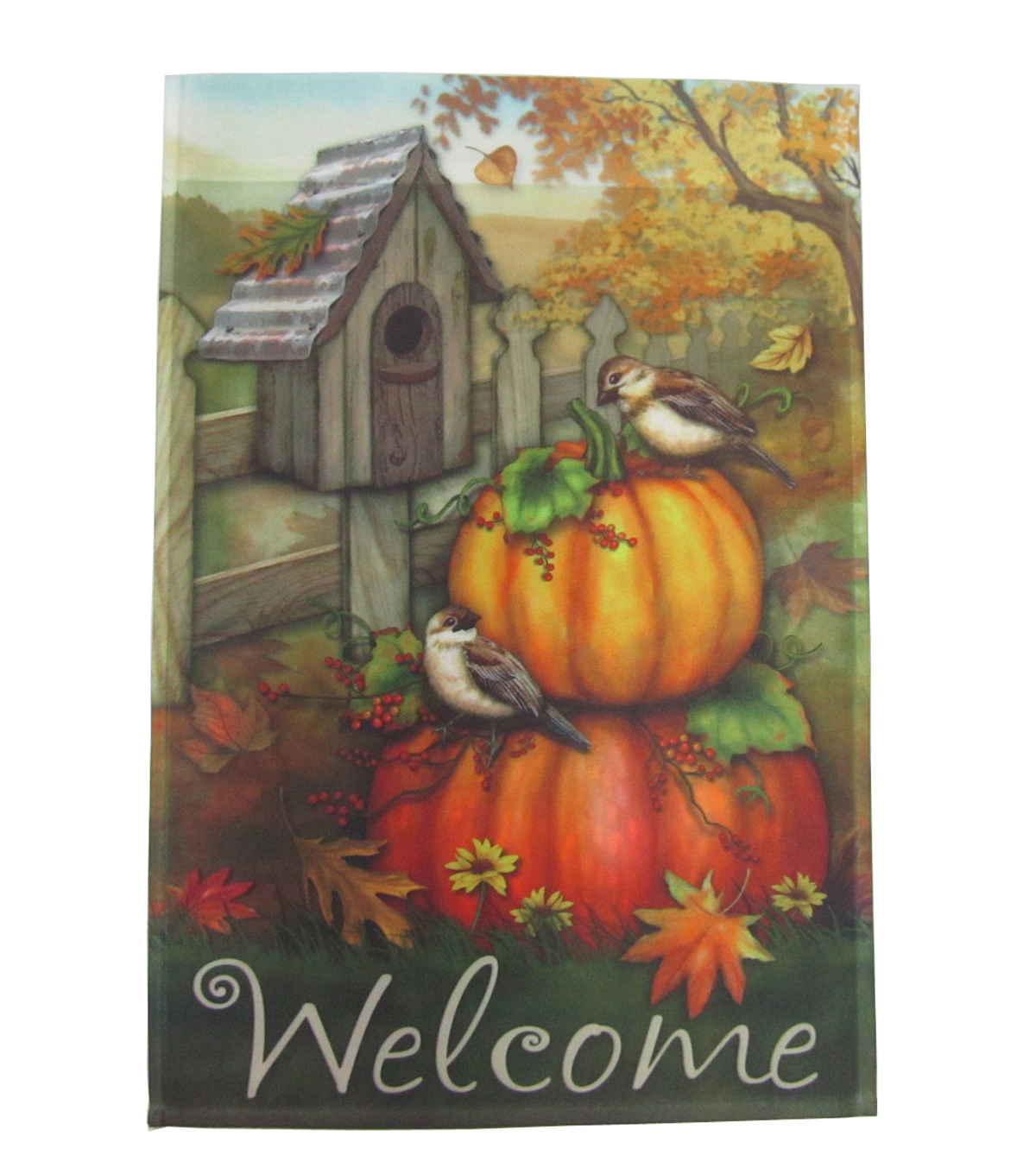 Fall Into Color 12''x18'' Flag- Bird & Welcome