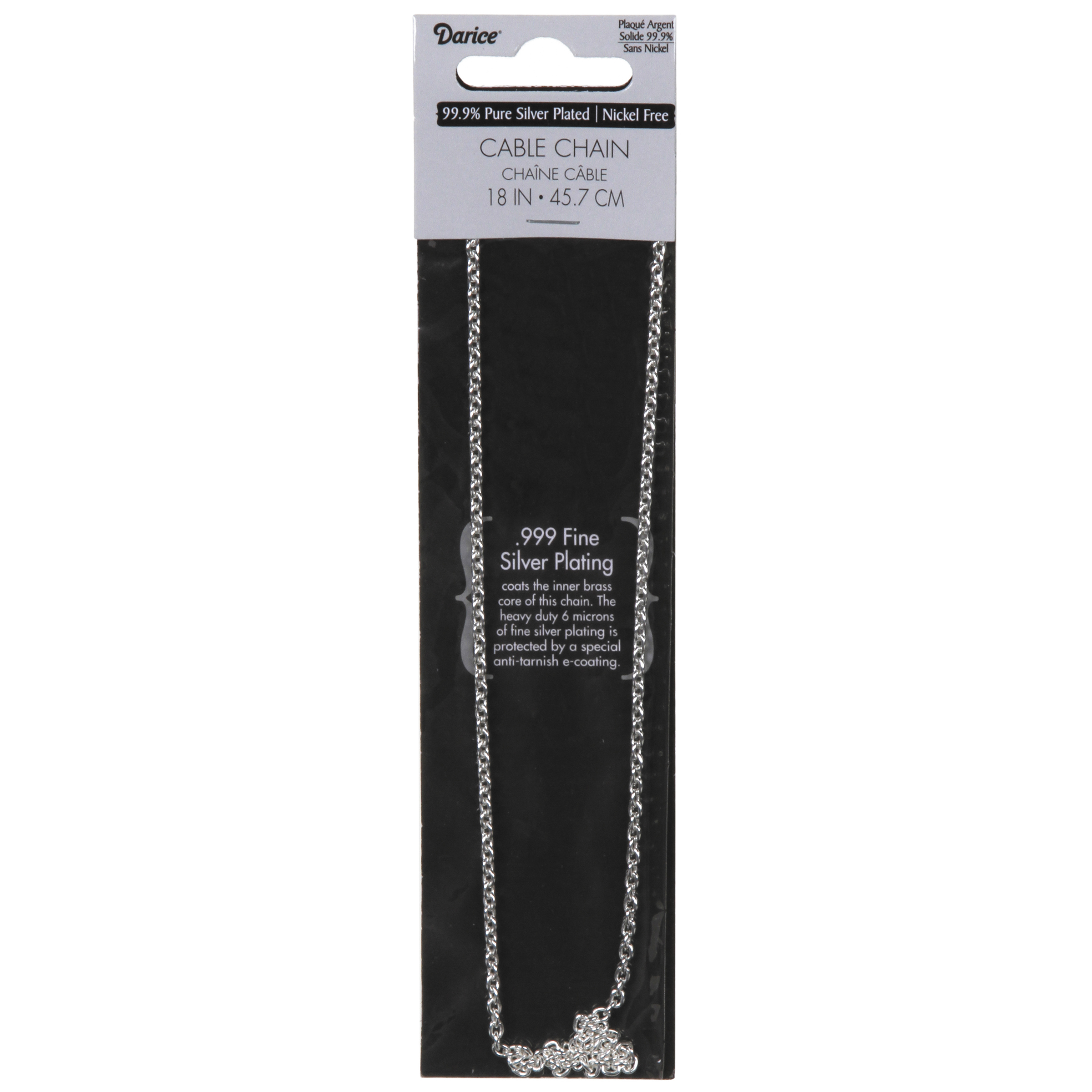 .80mm Silver Plated Cable Chain Necklace, 18 inches