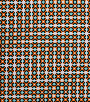 "1930's Cotton Fabric 43""-Square Connections Orange"