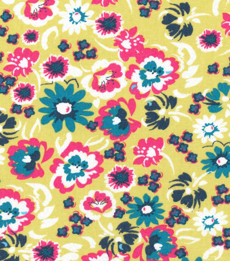"Keepsake Calico™ Cotton Fabric 43""-Tropical Floral On Lime"