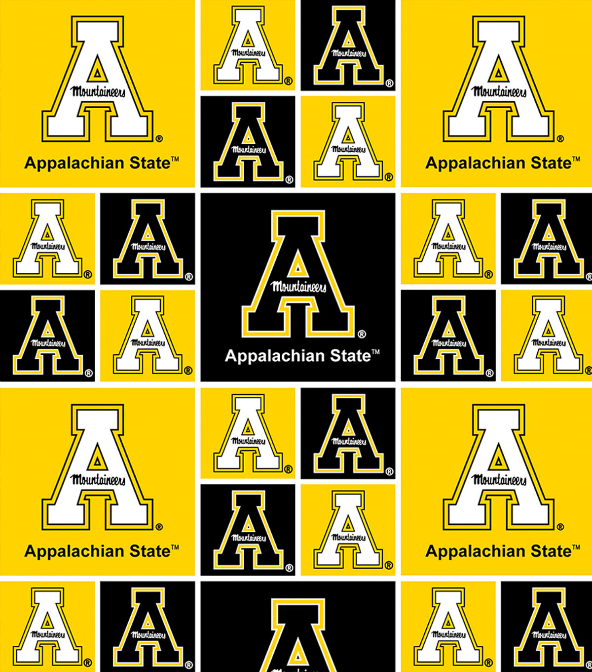 Appalachian State University Mountaineers Cotton Fabric 44\u0022-Allover